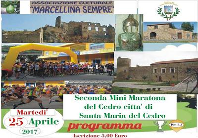 Marcellina: Il 25 aprile la seconda edizione della Mini Maratona del Cedro