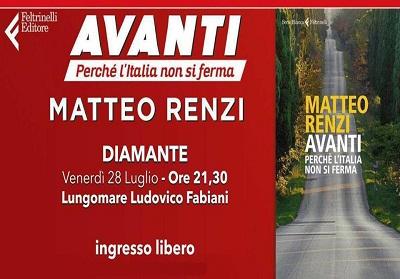 Matteo Renzi a Diamante per presentare il suo libro, il sindaco Sollazzo saluta con soddisfazione