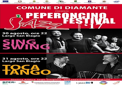 """Diamante: Tutto pronto per la """"due giorni"""" del Peperoncino Jazz Festival con i  Sing Swing e i Toca Tango"""