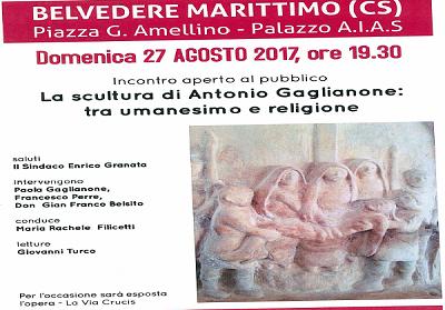 Belvedere: Incontro sulla scultura dell'artista belvederese Antonio Gaglianone