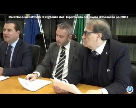 Relazione sull'attivitá dell'Ispettorato del lavoro di Cosenza nel 2017-intervista Direttore Giuseppe Patania