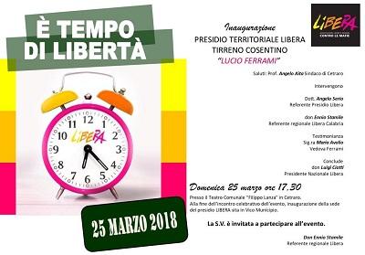 """Cetraro: Inaugurazione del """"Presidio territoriale Libera Tirreno cosentino"""""""