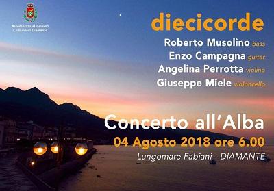 "Diamante: Sabato 4 agosto appuntamento con ""Diecicorde-Concerto all'alba"""