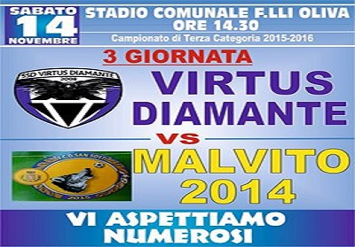SSD VIRTUS DIAMANTE- MALVITO – 14 Nov.-F.lli Oliva di Diamante.