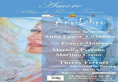 """Diamante: """"Amore – Silloge di Therry Ferrari"""", l'ultimo appuntamento con Aprilibro,"""