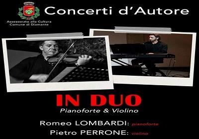 """Diamante: Il """"Duo"""" Romeo Lombardi e Pietro Perrone chiude i """"Concerti d'autore"""""""