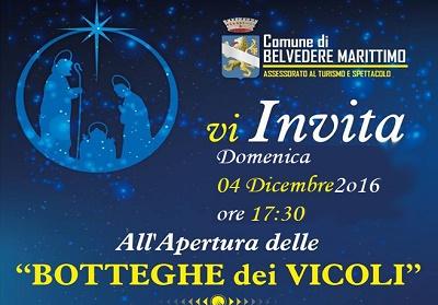 """Belvedere: Nel Borgo Antico è già Natale con l'apertura delle """"Botteghe dei Vicoli"""""""