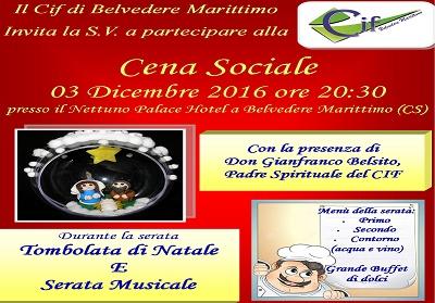Belvedere: Il CIF organizza una cena sociale il cui ricavato sarà devoluto alla Caritas Diocesana