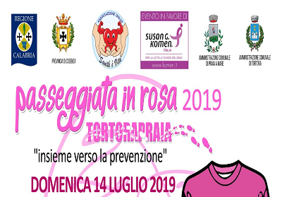 """Il 14 luglio la IV edizione della """"Passeggiata in rosa"""" da Tortora a Praia a Mare"""