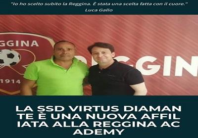 """La Scuola Calcio Virtus Diamante si affilia alla """"cantera"""" della Reggina, squadra che milita in Serie C"""