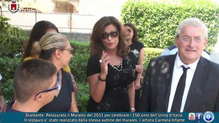 Diamante: Restaurato il Murales del 2011 che celebra i 150 anni dell'Unità d'Italia