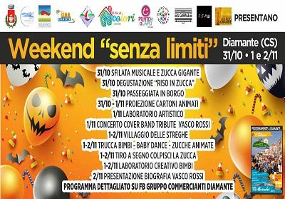 """Diamante: """"Weekend- Senza Limiti"""", un fine setttimana ricco di eventi che si terrà a dal 31 ottobre al 2 novembre"""