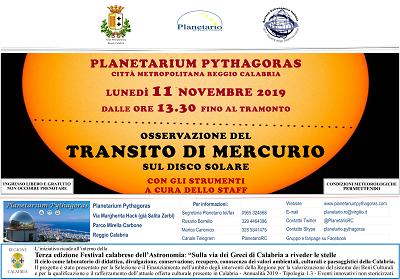 Reggio Calabria: Al Planetarium Pythagoras si può osservare il transito di Mercurio sul disco solare