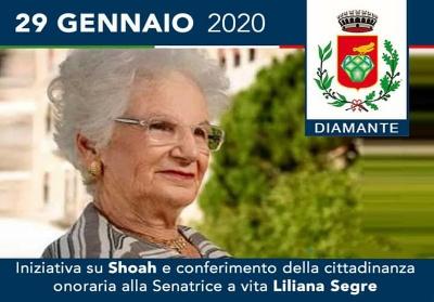 Diamante conferisce la cittadinanza onoraria a Liliana Segre