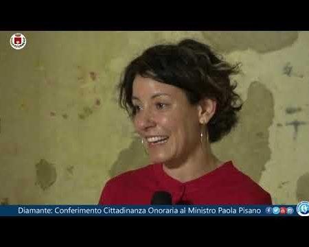 Diamante: Conferimento della Cittadinanza onoraria al Ministro Paola Pisano