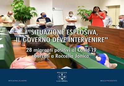 """Calabria, 28 migranti positivi. Santelli: """"Situazione esplosiva, il Governo deve intervenire"""""""