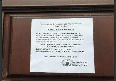 Diamante: Chiuse le due Chiese del centro storico per sanificazione locali